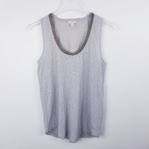 J. Crew Gray Tank Top with Beaded Embellished Neck